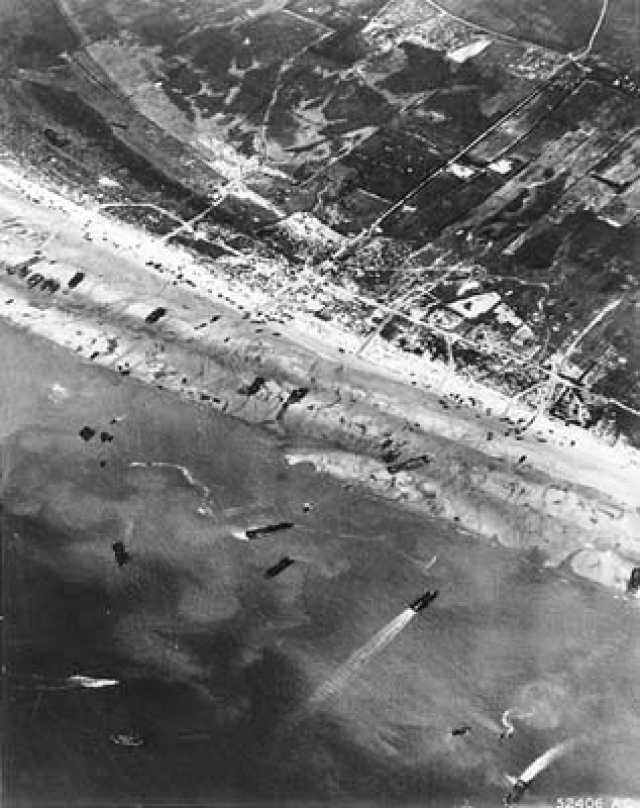 Army Air Corps photographers documented D-Day beach traffic, as photographed from a Ninth Air Force bomber on June 6, 1944.