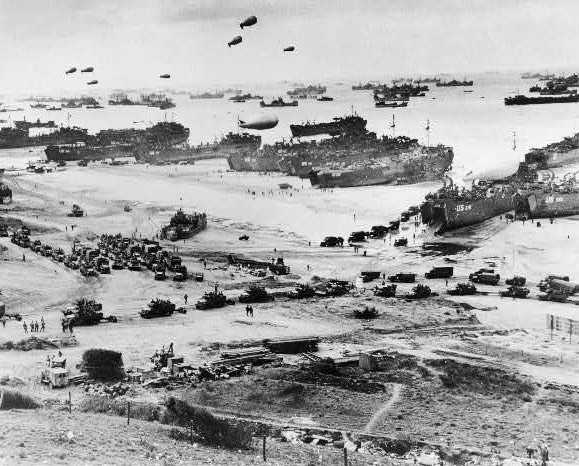Allied invasion forces land in Normandy on June 6, 1944.