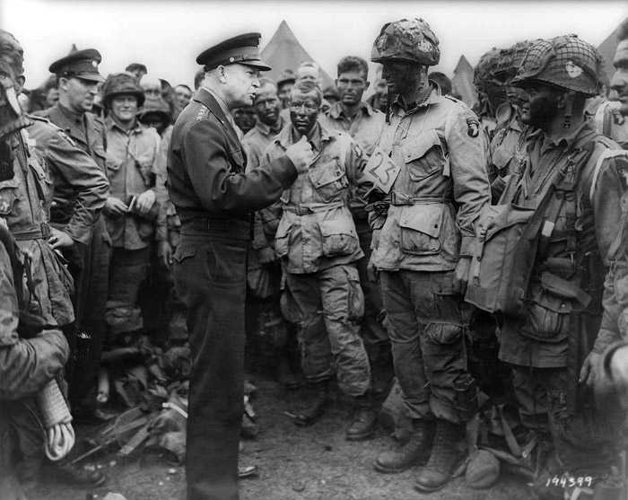 General Dwight D. Eisenhower addresses American paratroopers on D-Day.