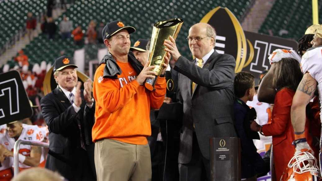 Dabo with championship trophy