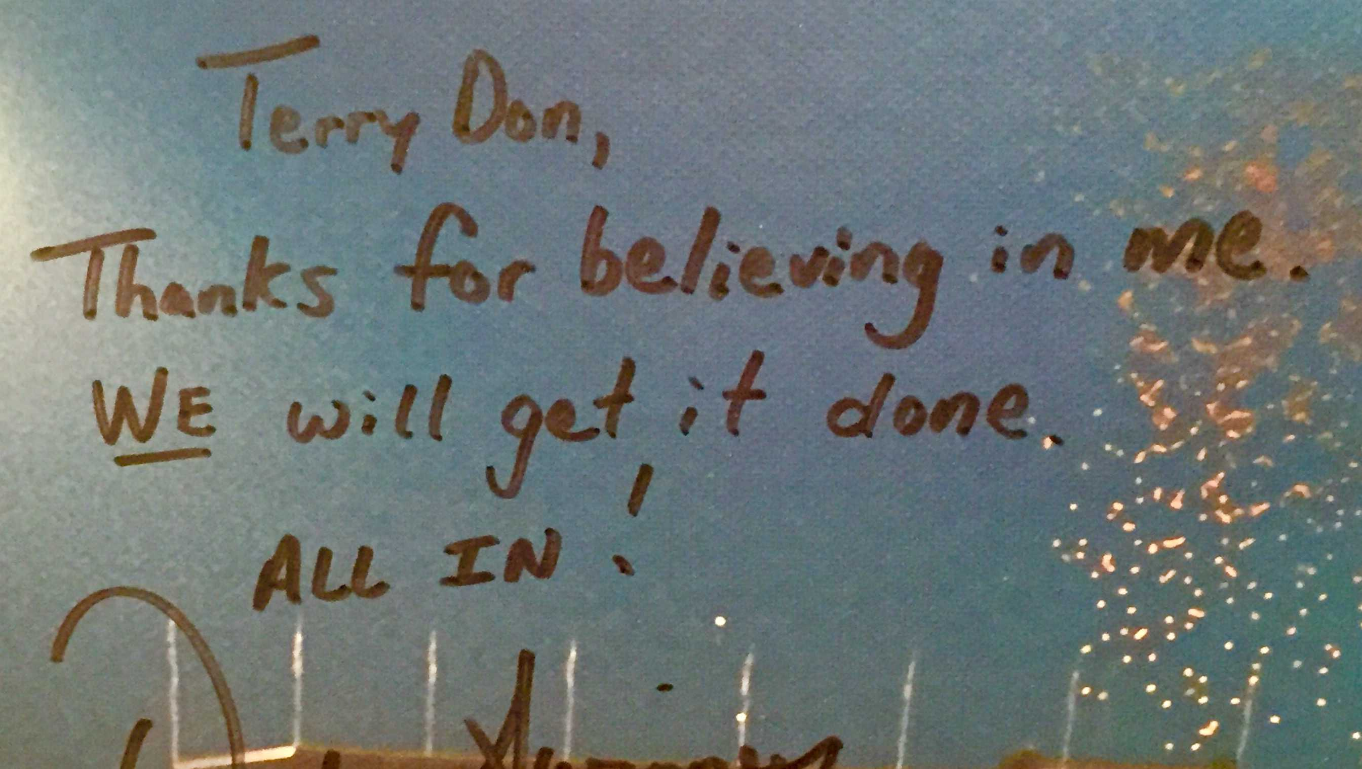 Dabo Swinney's handwritten promise to Terry Don Phillips in 2008