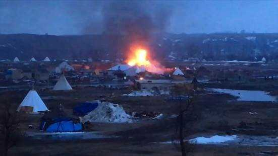 Two tents are on fire at the Oceti Sakowin camp where Dakota Access Pipeline protestors are located.