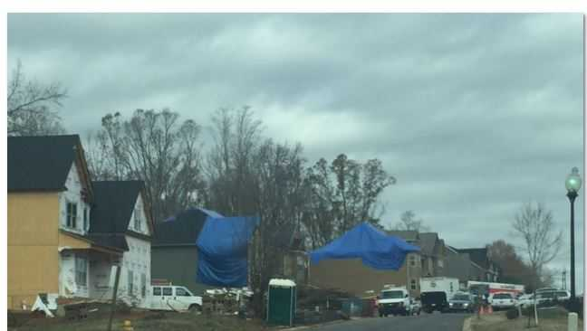 Work continues after a tornado touched down near West Georgia Road in the Simpsonville area