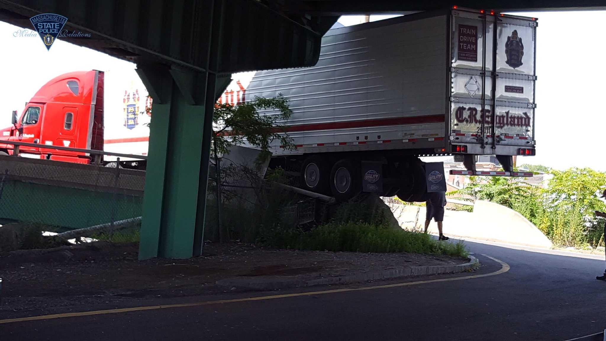 Truck stuck on Rt. 1A ramp