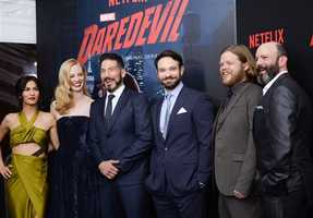 "Cast members, from left, Elodie Yung, Deborah Ann Woll, Jon Bernthal, Charlie Cox, Elden Henson and Geoffrey Cantor attend the premiere of Netflix's Original Series Marvel's ""Daredevil"" Season 2 at AMC Lincoln Square on Thursday, March 10, 2016, in New York."