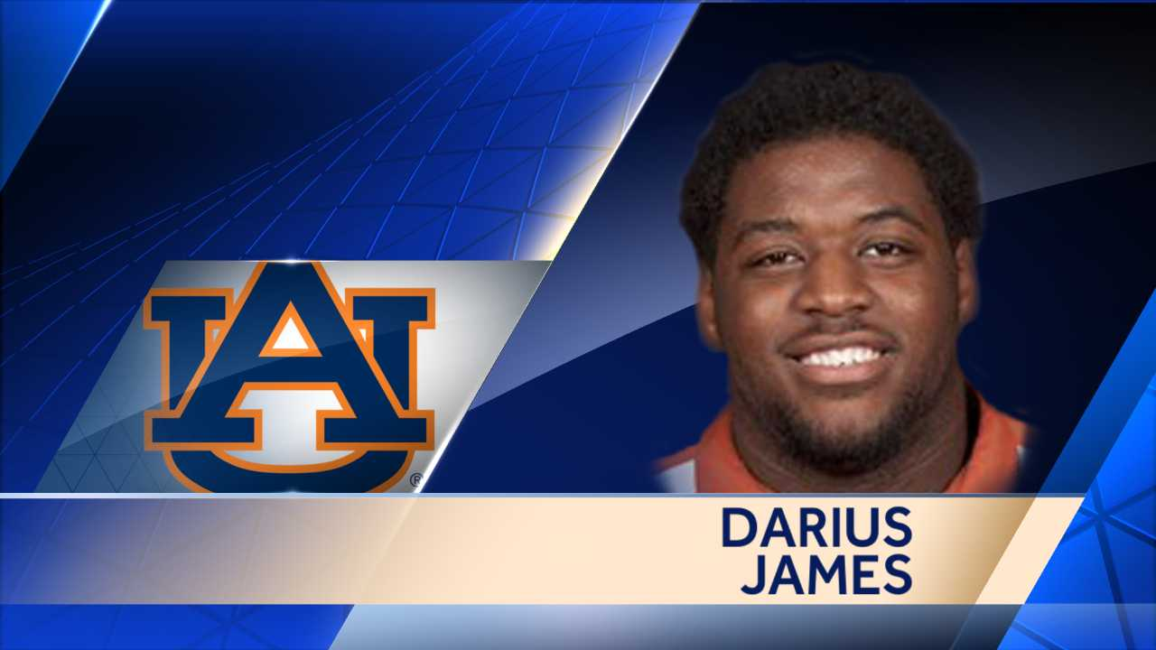 Auburn right tackle Darius James was carted off the field on a stretcher after being injured in the second quarter against Mercer.