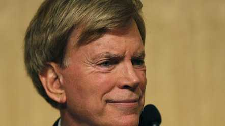In this Nov. 2, 2016 file photo, Republican Louisiana Senate candidate, former Ku Klux Klan leader David Duke, waits for the start of a debate for Louisiana candidates for the U.S. Senate, at Dillard University in New Orleans.