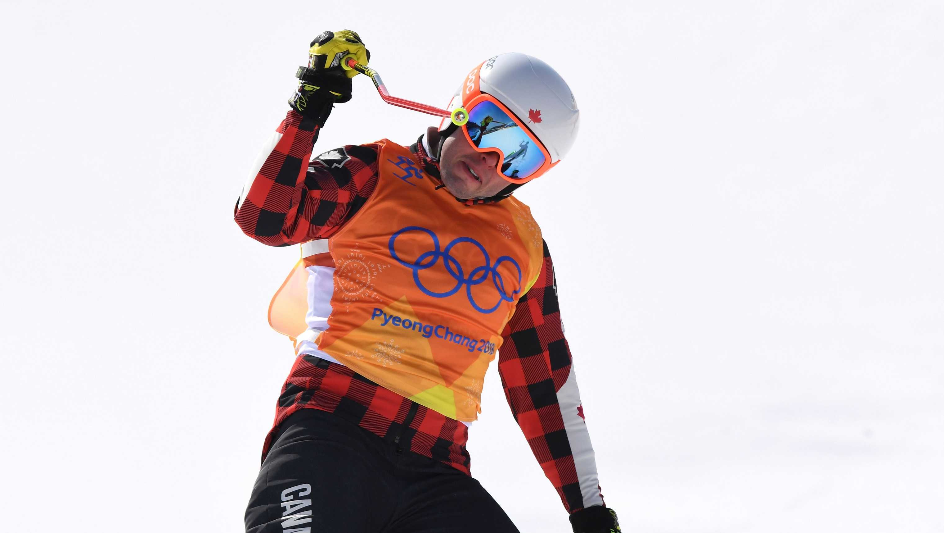 Dave Duncan of Canada, celebrates after winning heat 7 in the Freestyle Skiing Men's Ski Cross 1/8 finals on day 12 of the PyeongChang 2018 Winter Olympic Games at Phoenix Snow Park on February 21, 2018.