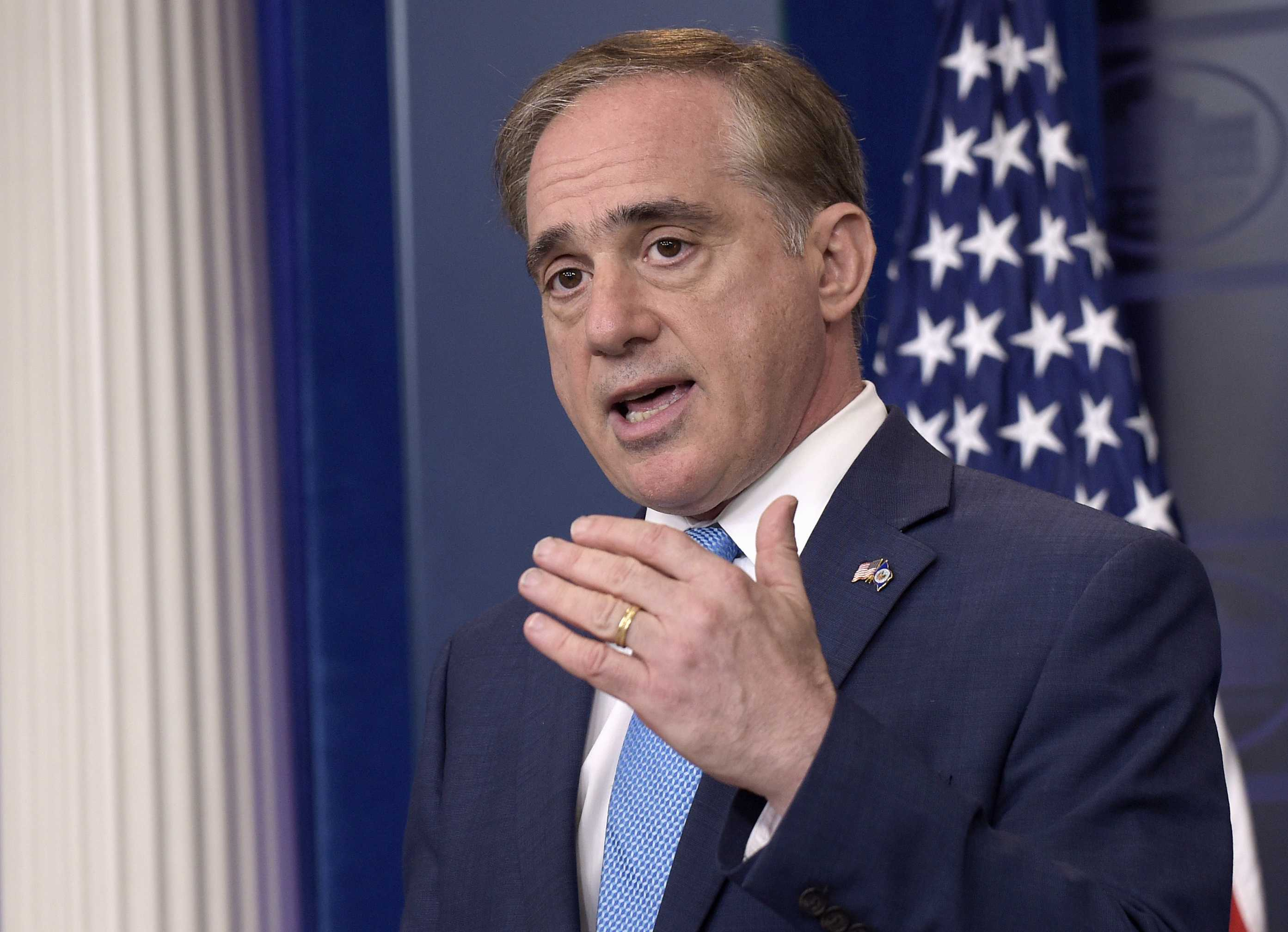 Veterans Affairs Secretary David Shulkin speaks during a briefing at the White House in Washington Wednesday