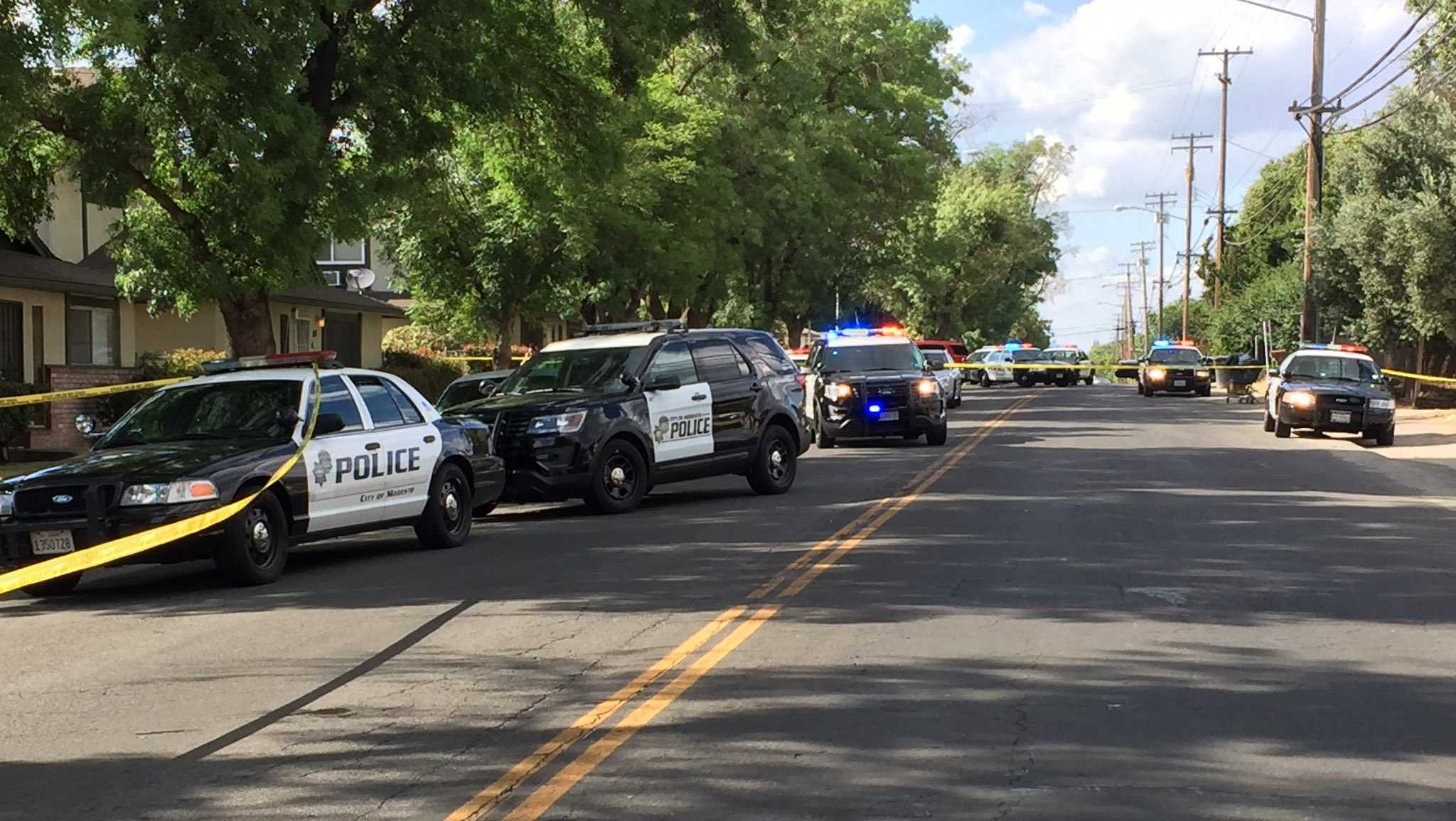Officers investigate a double shooting in a Modesto neighborhood on Monday, June 12, 2017, the Modesto Police Department said.
