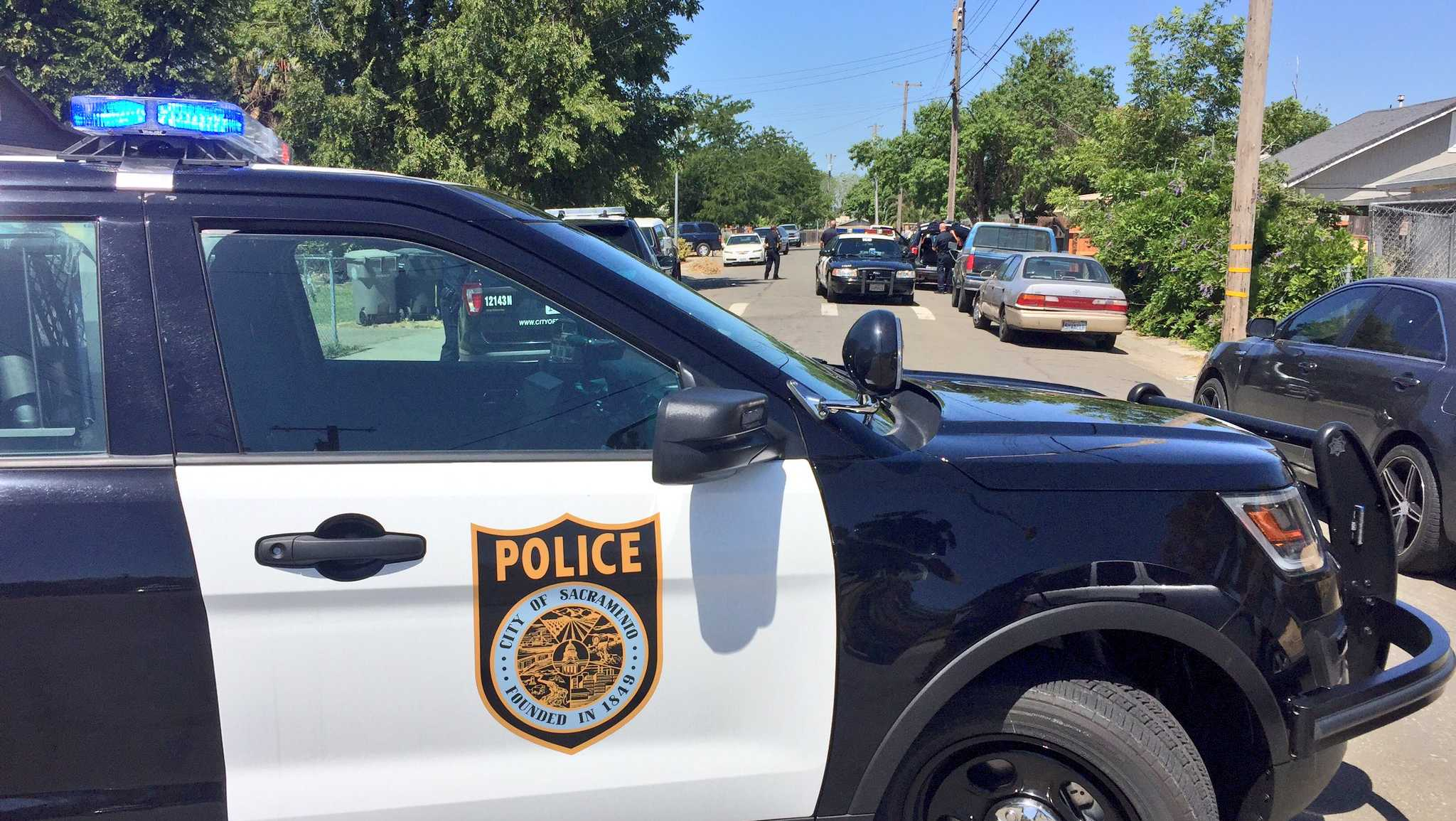 Officers investigate a drive-by shooting Sunday, July 2, 2017, in the Del Paso Heights area, the Sacramento Police Department said.