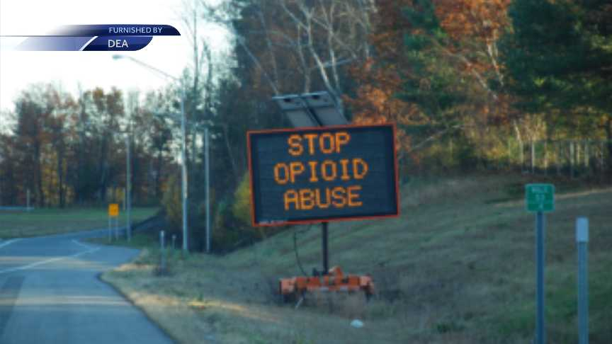 Signs raising awareness for opioid crisis