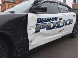Dedham cruiser hit in icy road crash