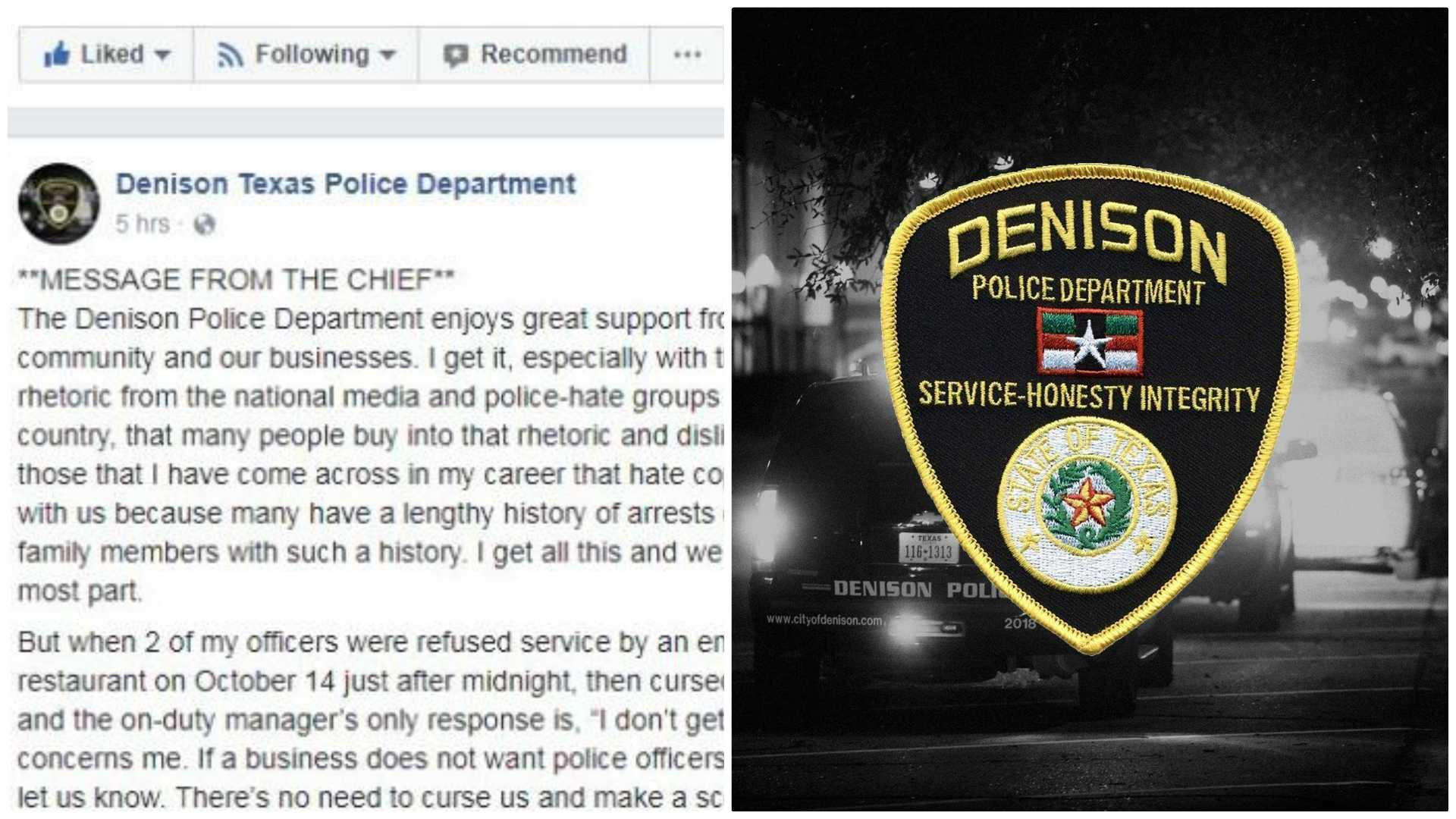 Police chief ficers refused service cursed at restaurant