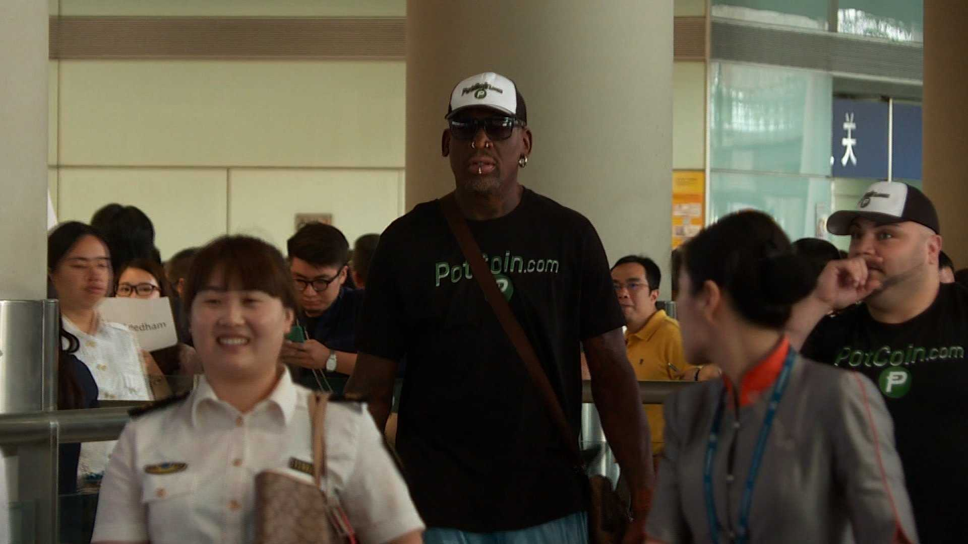 Former NBA player Dennis Rodman arrives in North Korea