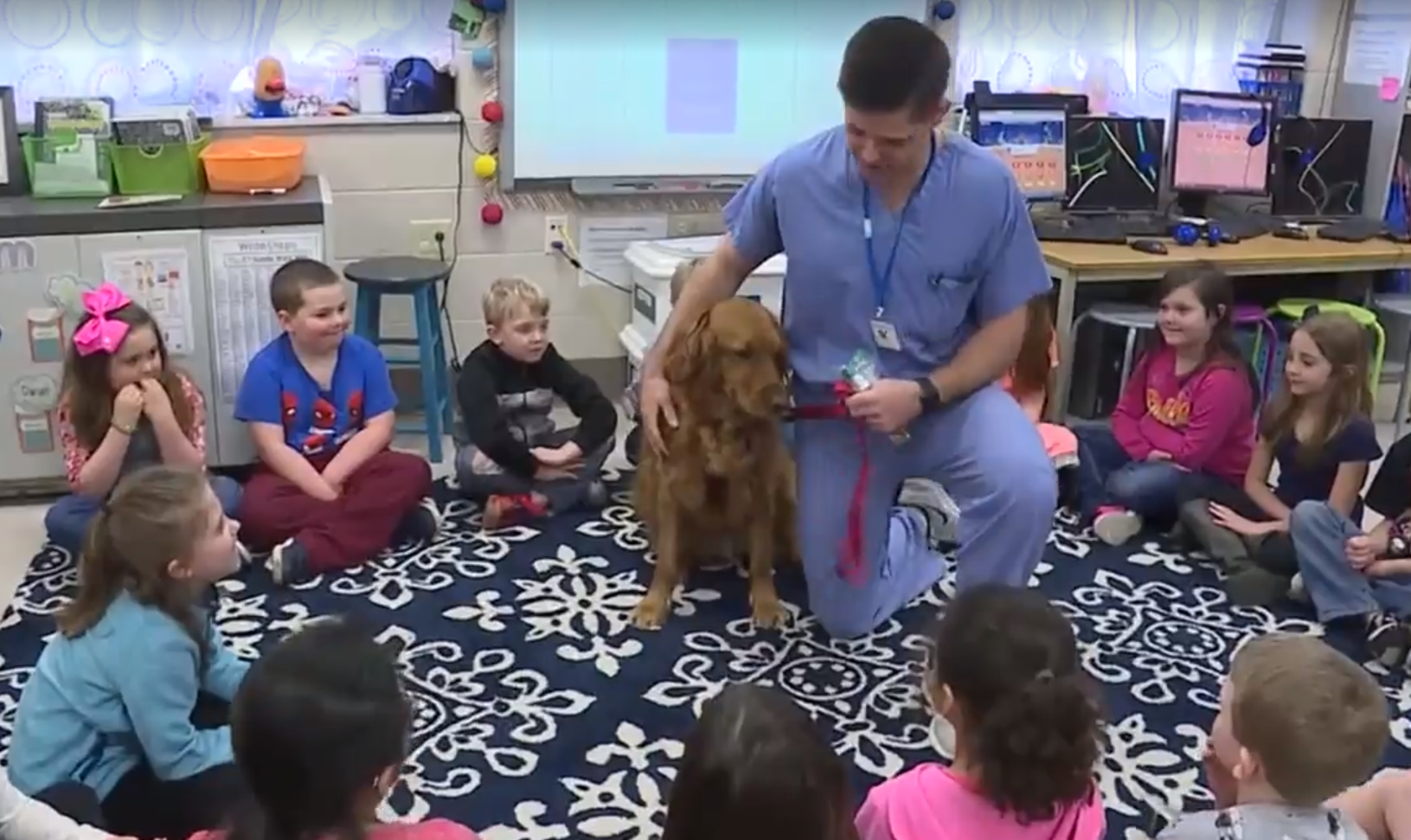Dentist's dog helps children learn dental hygiene