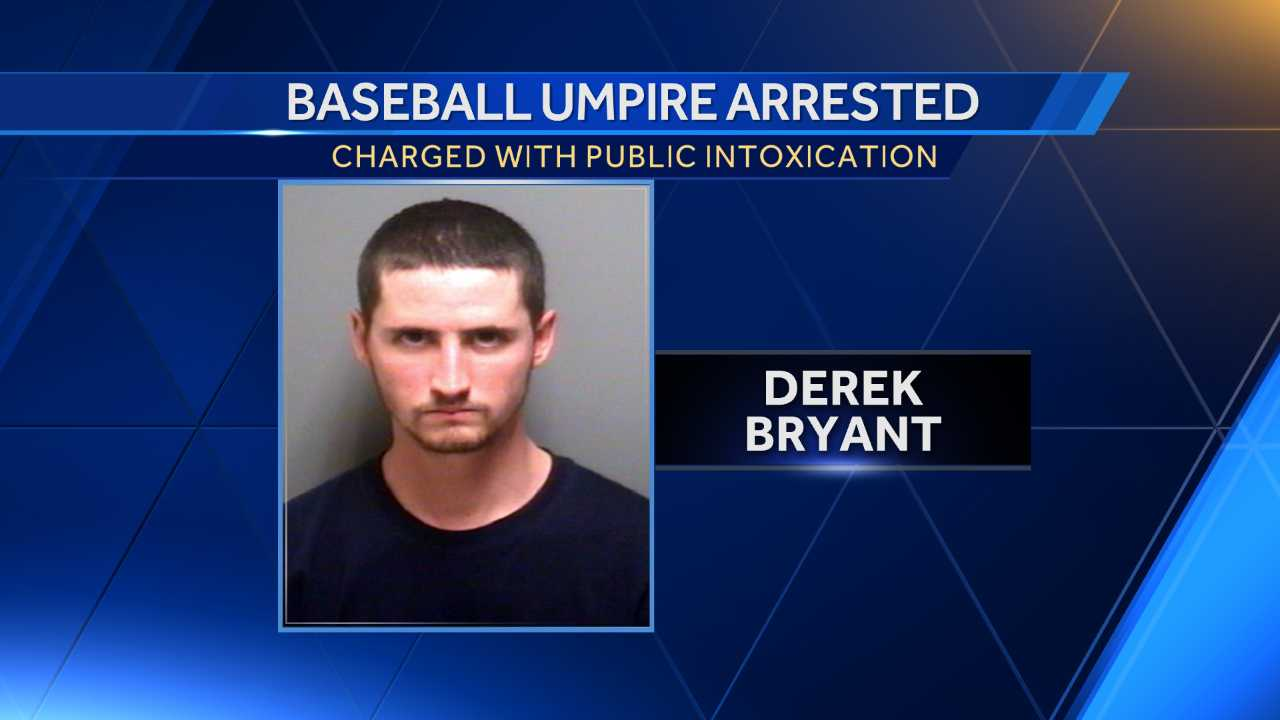 Priceville police say Derek Bryant was arrested by Monday with one inning left in a junior varsity game at Priceville High School.