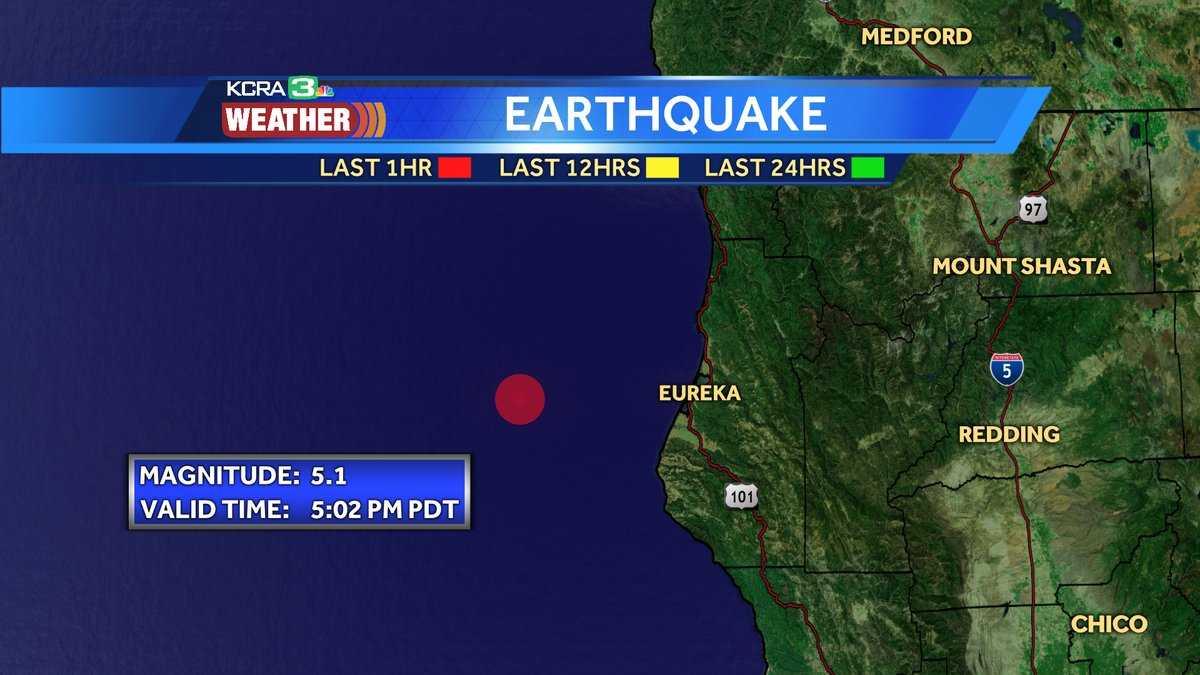 5.1 earthquake off of CA coast, near Ferndale July 28, 2017