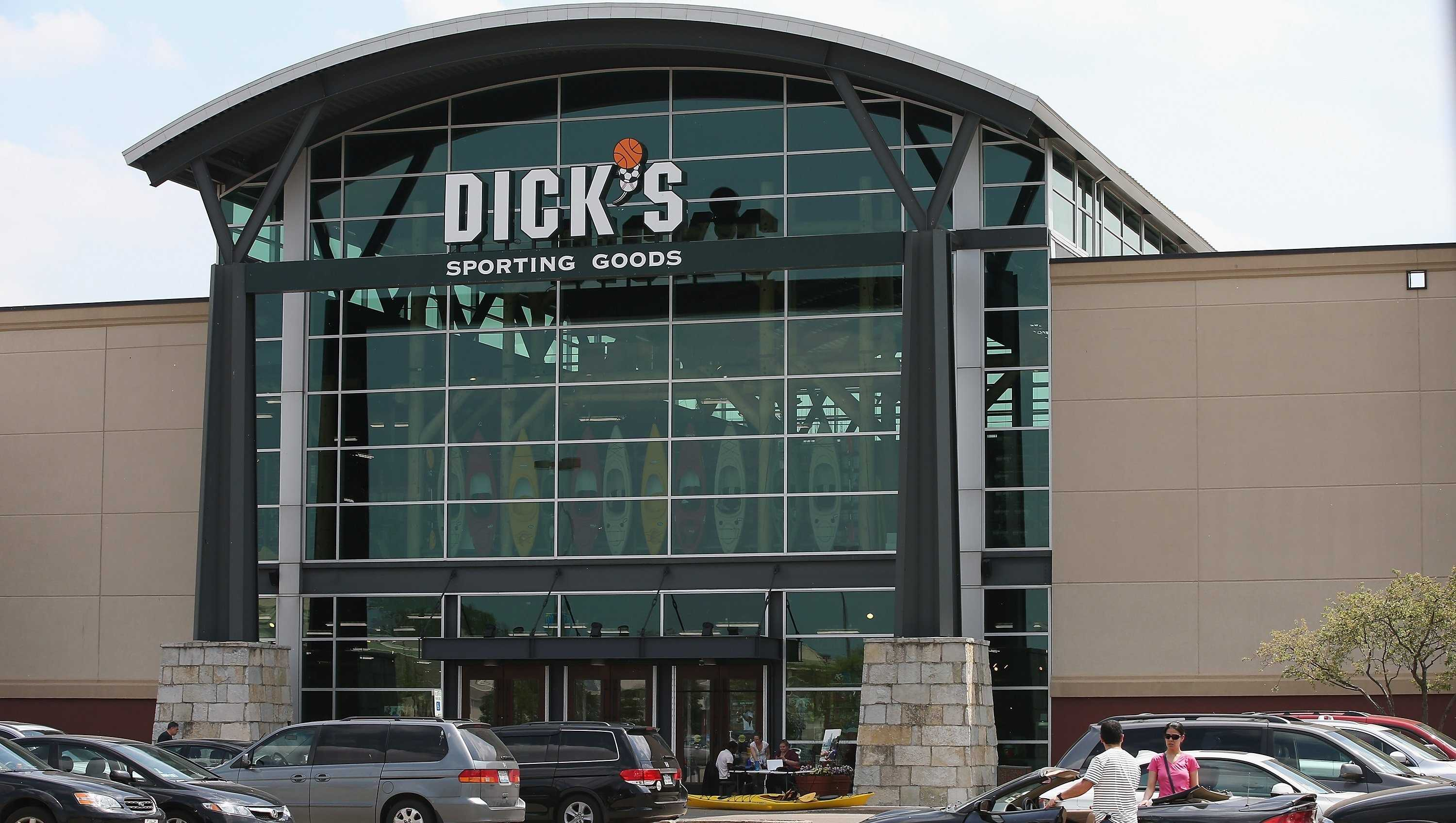 Dick's Sporting Goods stock price surged by as much as 27% after it reported stronger than expected quarterly sales and profit Wednesday.
