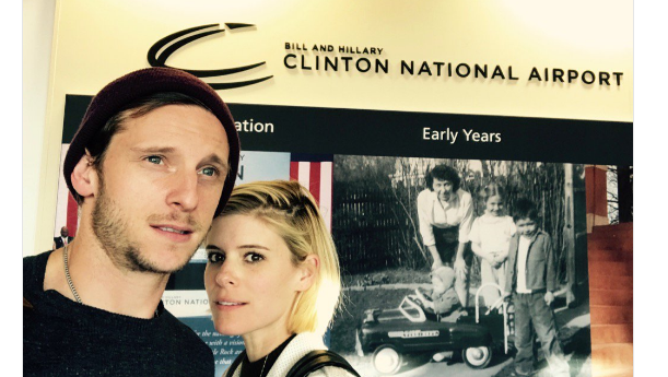 Jamie Bell and Kate Mara stuck at Clinton National Airport