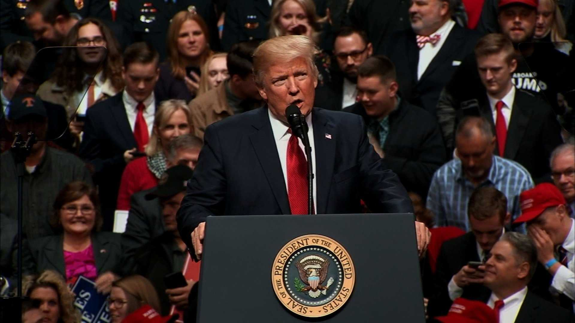 President Trump speaks at a 'Make America Great Again' rally in Nashville, Tennessee on March 15, 2017.