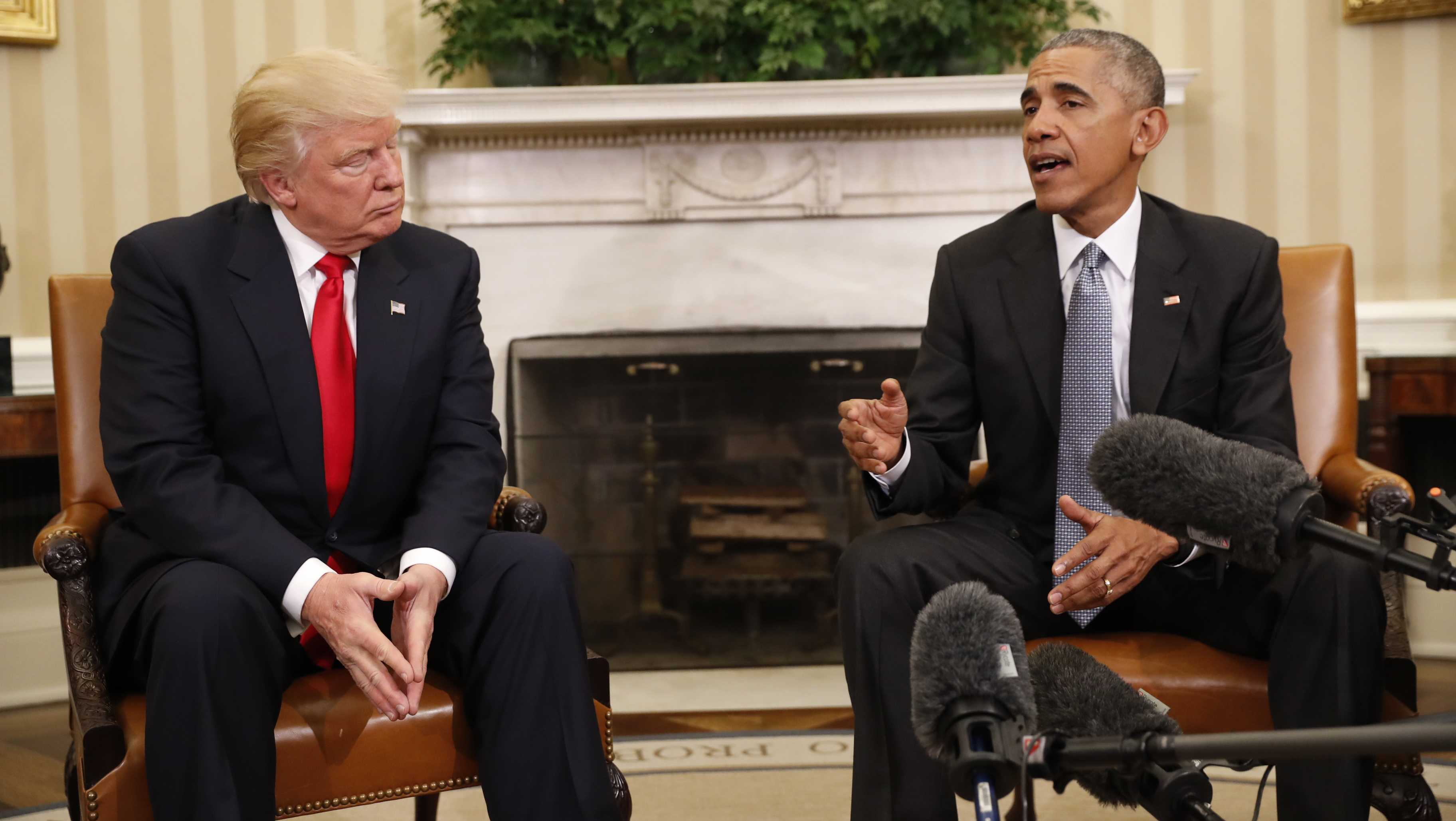 President Barack Obama meets with President-elect Donald Trump in the Oval Office.