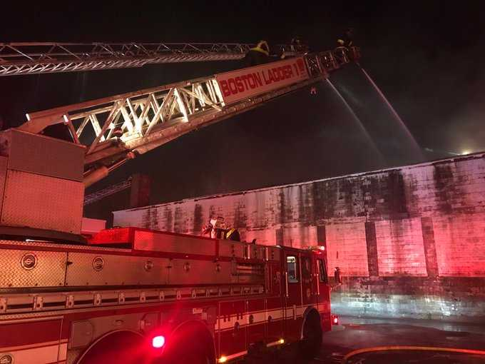 Boston firefighter hurt battling 4-alarm blaze inside warehouse