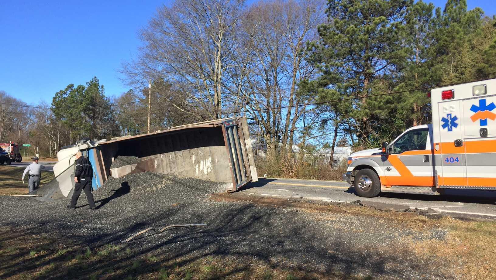 dump truck overturns