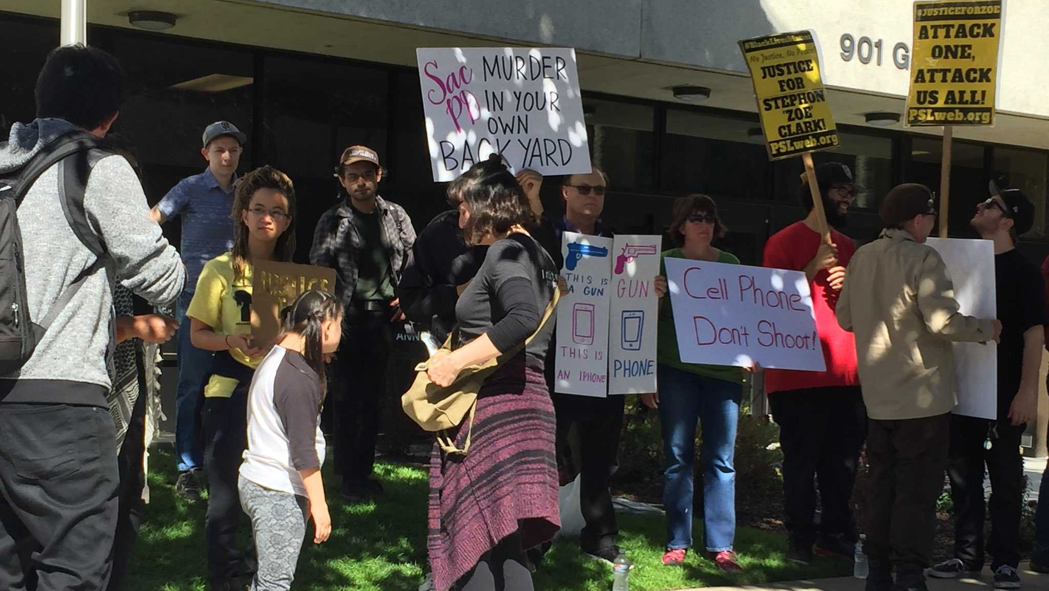 Dozens of protesters rallied outside of the Sacramento County District Attorney's Office Wednesday, March 28, 2018, calling for justice in Stephon Clark's police shooting death.