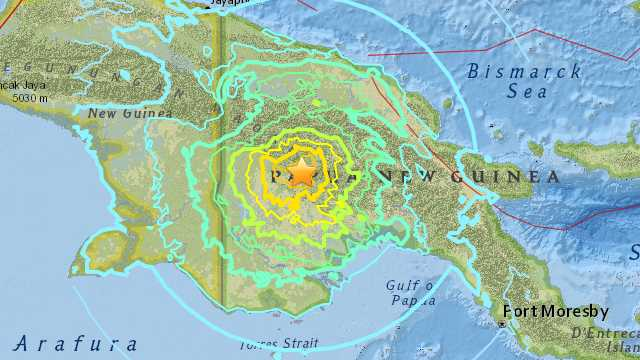 Earthquake hits Papua New Guinea in February 2018
