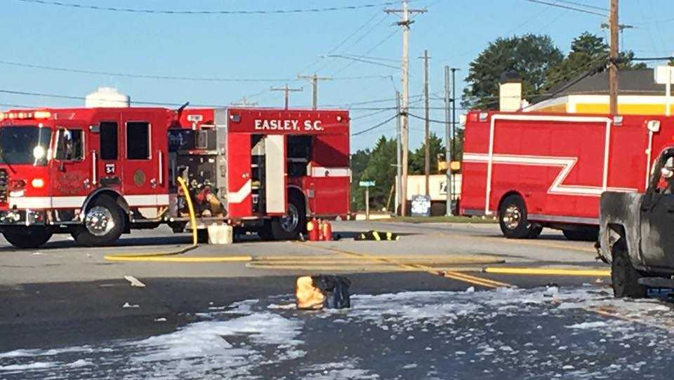 Vehicle fire, fuel spill in Easley