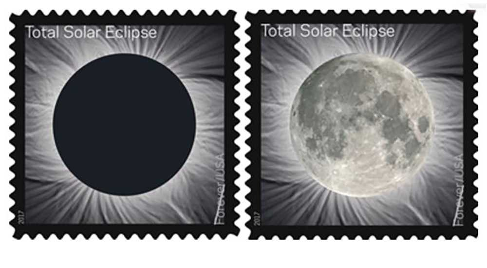 Heat-sensitive eclipse postage stamp will change when touched