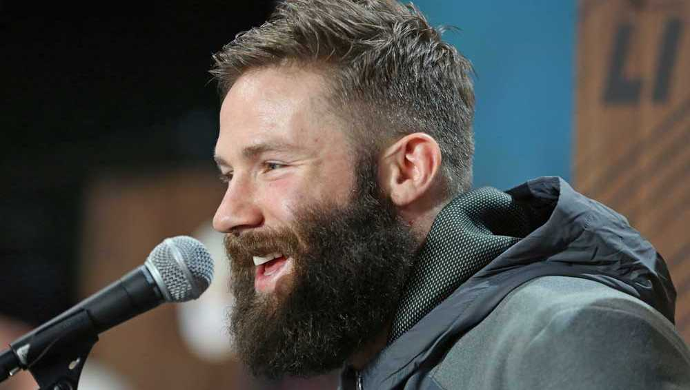 New England Patriots Julian Edelman is seen at Super Bowl Opening Night at Minute Maid Park on Monday, January 30, 2017 in Houston, TX.