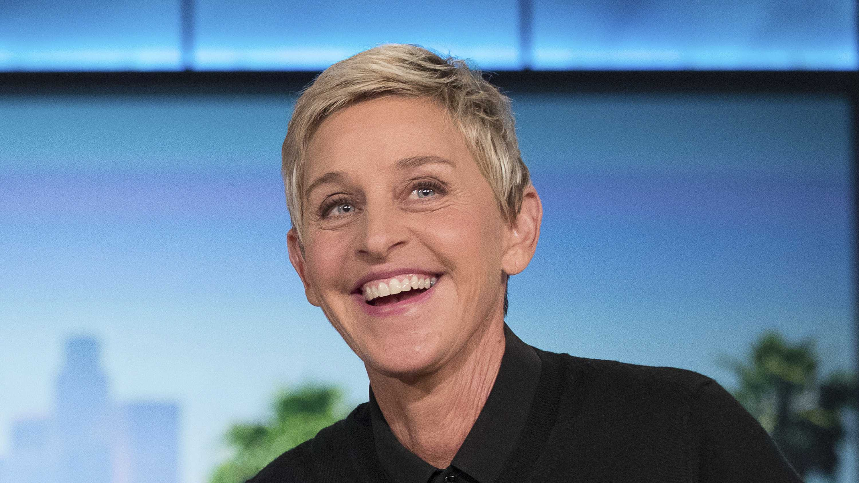 "In this Oct. 13, 2016 file photo, Ellen Degeneres appears during a commercial break at a taping of ""The Ellen Show"" in Burbank."