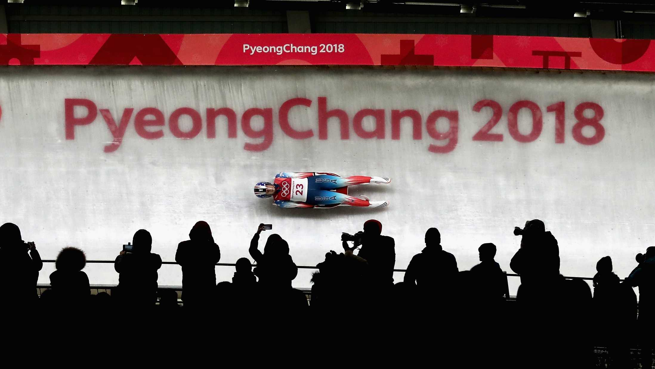 Emily Sweeney of the United States slides during the Luge Women's Singles run 3 on day four of the PyeongChang 2018 Winter Olympic Games at Olympic Sliding Centre on February 13, 2018 in Pyeongchang-gun, South Korea.