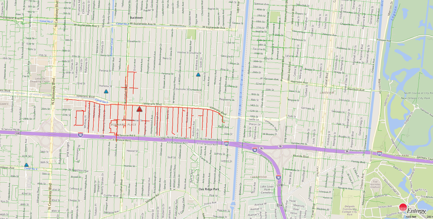 Fallen tree causes power outage in Metairie