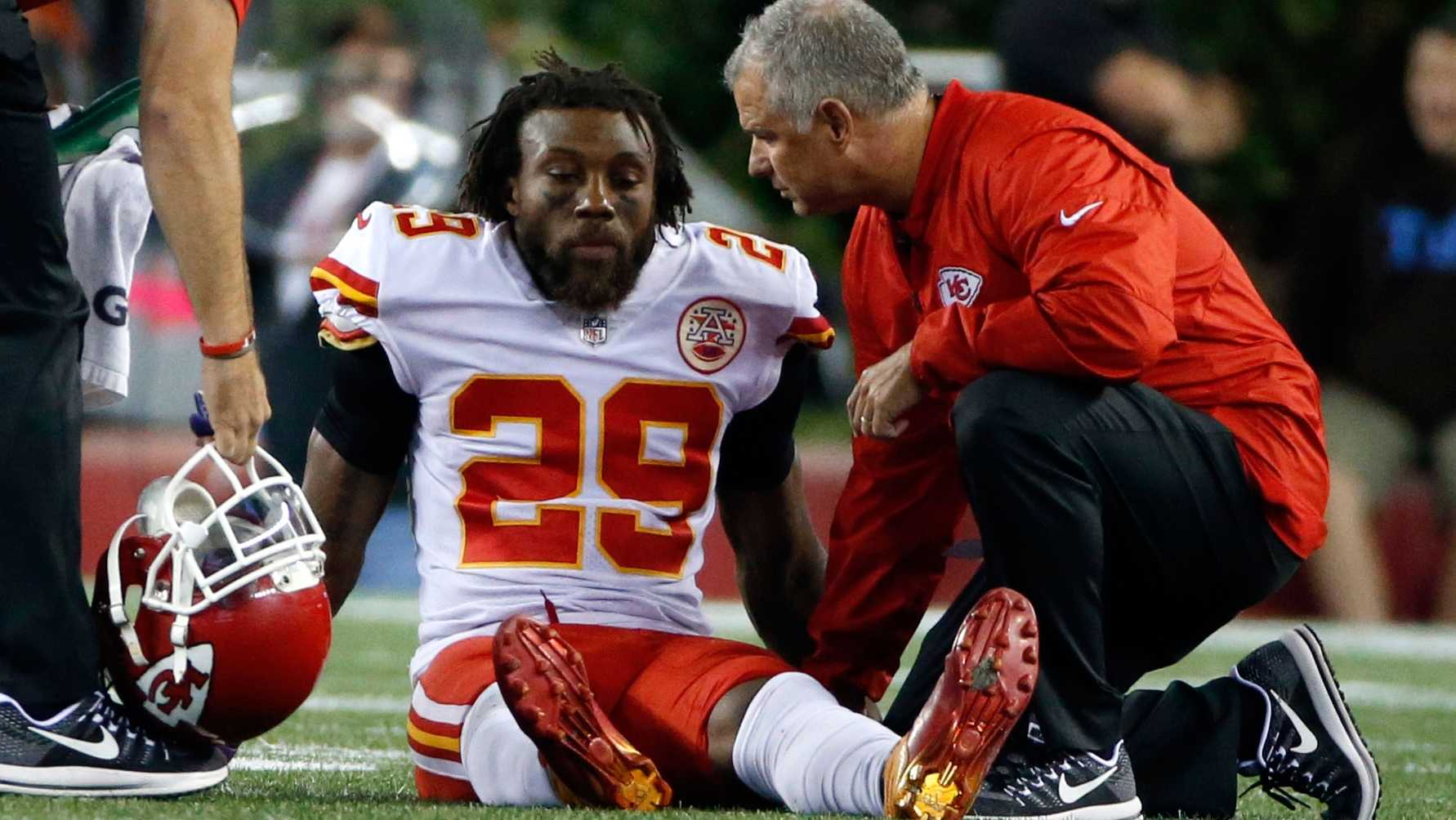 Kansas City Chiefs safety Eric Berry receives attention on the field after an injury during the second half of an NFL football game against the New England Patriots, Thursday, Sept. 7, 2017, in Foxborough, Mass. (AP Photo/Michael Dwyer)