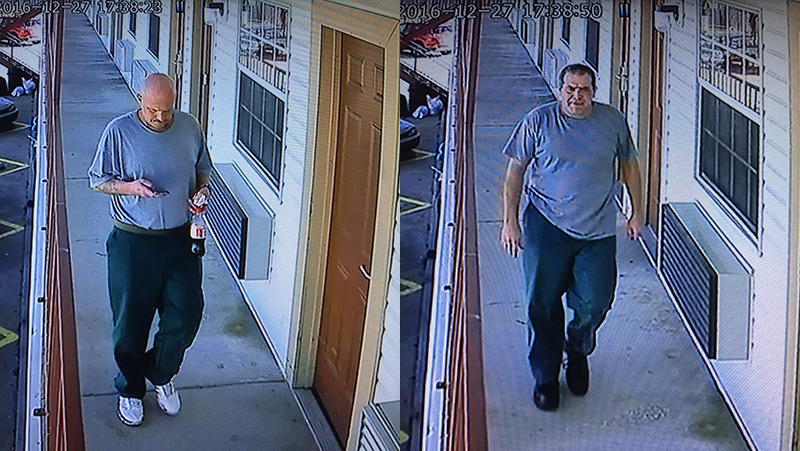 Roberts and Nokes as shown on surveillance footage at the Journey Inn in Springdale Tuesday. Both were still wearing their prison clothes.