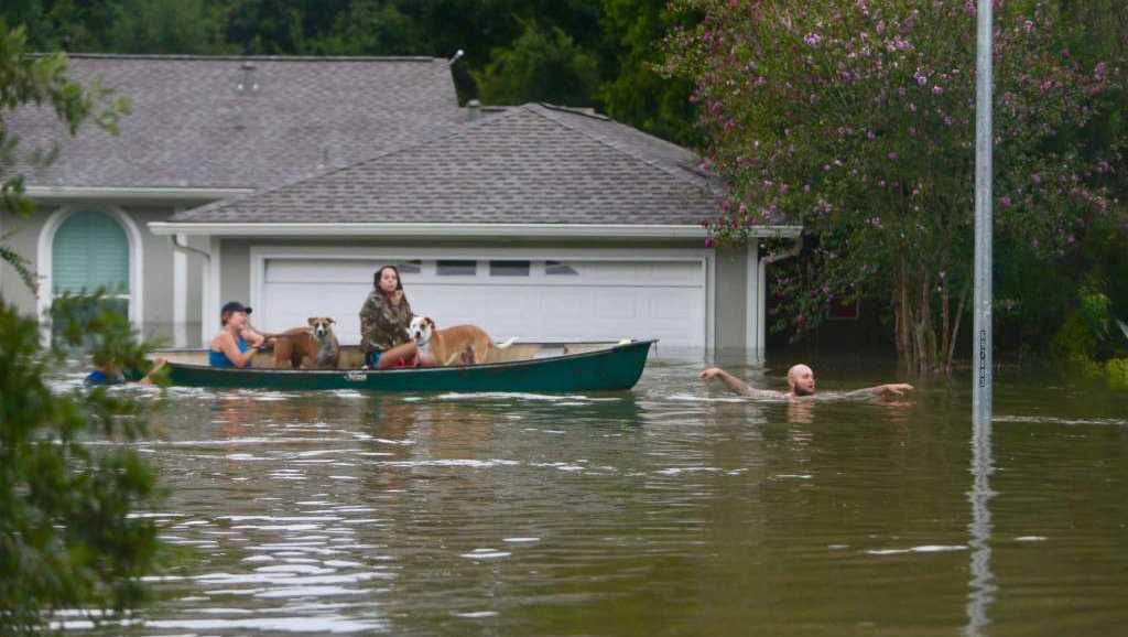 A family evacuates their home.