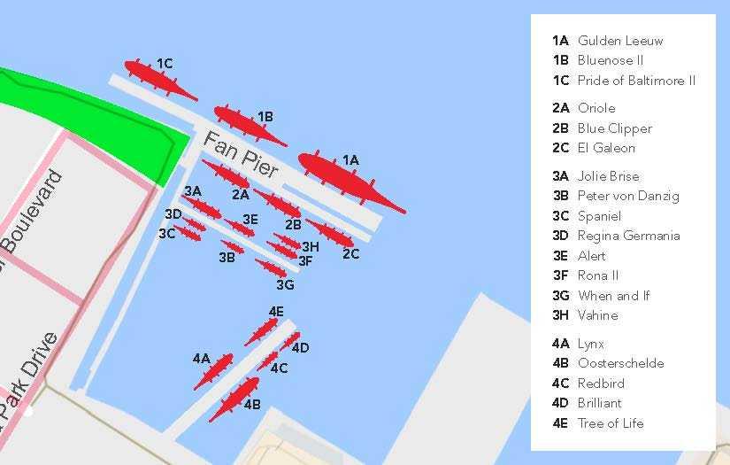 Sail Boston berthing map