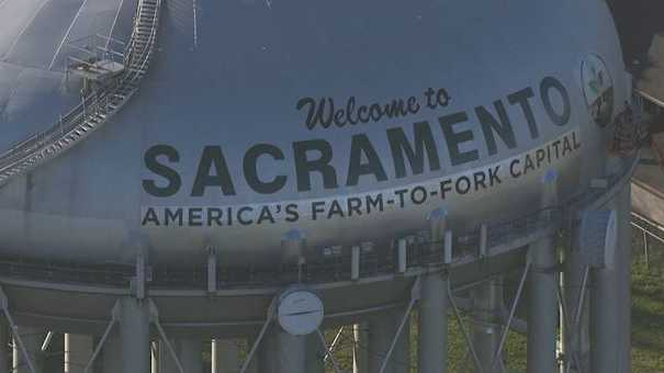 Sacramento water tower gets rebranded on 3.8.2017.