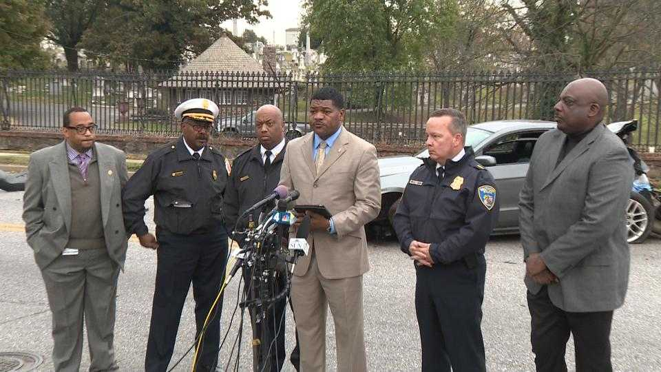 Baltimore police and fire officials brief the media on the fatal bus crash in southwest Baltimore.