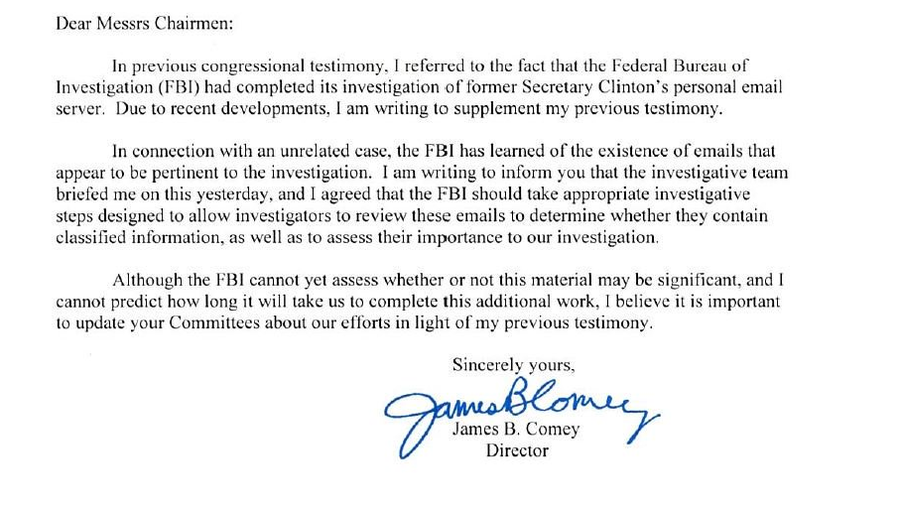 Fbi notifies congress it will investigate new emails found in probe letter from fbi director james b spiritdancerdesigns Gallery