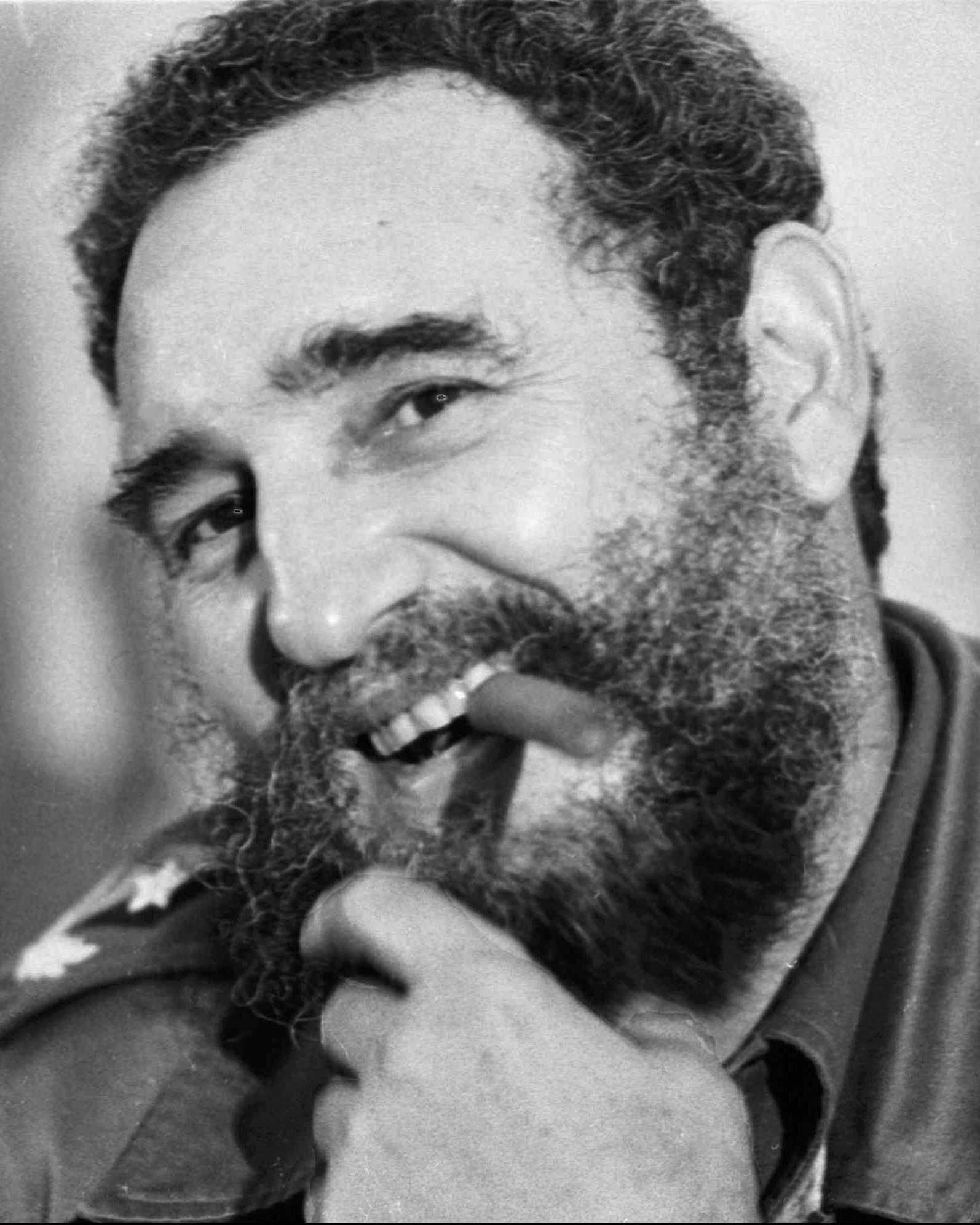 Fidel Castro smoking a cigar