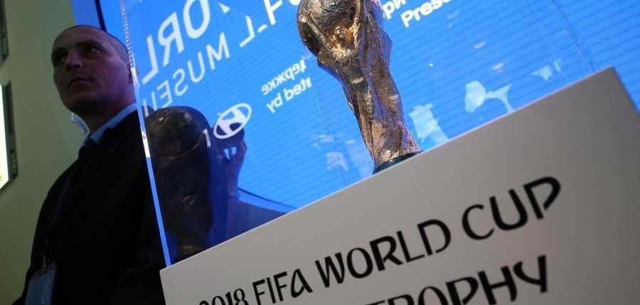 The FIFA World Cup Trophy is on display as part of the exhibition The History Makers presented by FIFA Partner Hyundai and hosted by the FIFA World Football Museum at the Hyundai Motorstudio Moscow at Novy Arbat (New Arbat) Street ahead of the forthcoming FIFA World Cup Russia 2018. Vladimir Gerdo/TASS