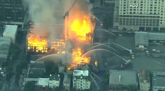 Crews battling 4-alarm construction site fire near Oakland
