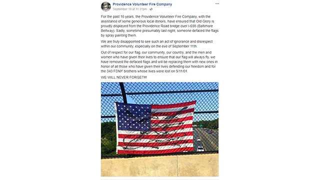 American flag defaced
