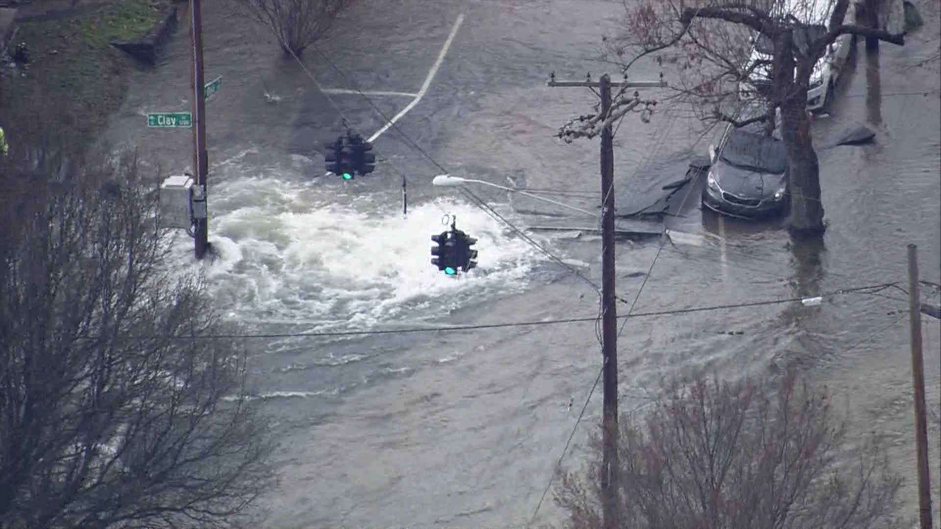 water main break, Shelby Park