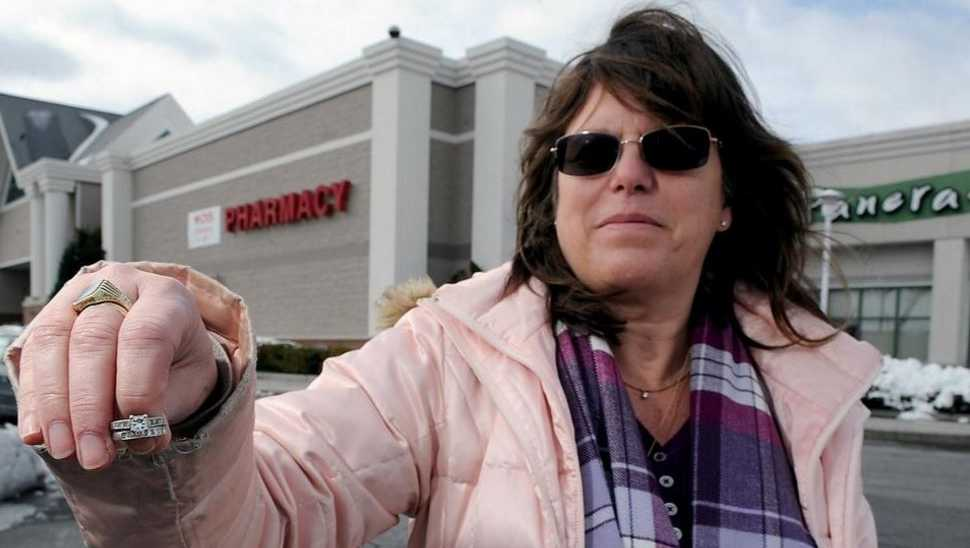 Betsy Madison of Ashland and the rings she found in the parking lot in front of Target and Panera Bread.