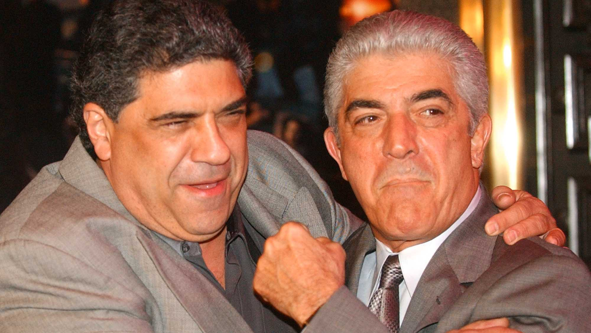 Frank Vincent (right) died on Wednesday at the age of 78. He's pictured with Vincent Pastore (left)